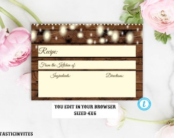 Recipe Card Template, Rustic Recipe Card, Instant Download, Bridal, Baby Shower, Bridal Shower, Recipe Template, Floral, Editable, Printable