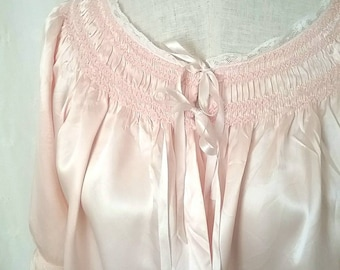 "Vintage 1940's Pastel Pink, Silk Satin Bed Jacket with Lace Trim, Ribbon Ties, Smocked Shirred Yoke, Full Sleeves, 35-37"" Bust"