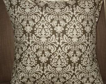 New 18x18 inch Designer Handmade Pillow Case in olive green damask.