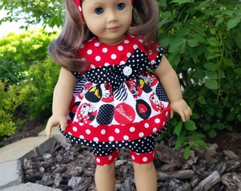 Miss Mouse Polka dot outfit for 18 inch dolls