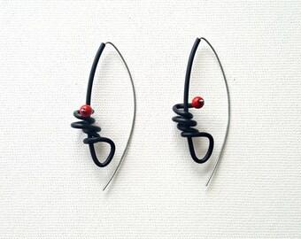Contemporary earrings Rubber earrings Long earrings Christmas gift Modern earrings Black earrings Statement earrings Dangle earrings