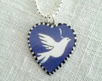 Dove of Peace Heart Pendant. Lovingly Handmade in Brooklyn by Wishing Well Studio.