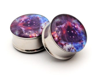 Galaxy Picture Plugs gauges - 16g, 14g, 12g, 10g, 8g, 6g, 4g, 2g, 0g, 00g, 7/16, 1/2, 9/16, 5/8, 3/4, 7/8, 1 inch