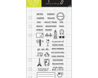 Clearly Kelly Adventure Planner Hero Arts Clear Acrylic Stamp Set CL932 NEW!