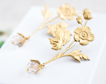 Gold Flower Earrings, Flower and Crystal Stud Earrings, Long Gold Earrings, Bridal Flower Earrings, Crystal Earrings, Stud Earrings