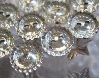 10 Vintage Czech Glass Buttons Handmade Made In Czechoslovakia  7/16th Inch  #28