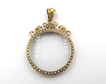 Antique 9ct Gold Pearl Locket Pendant | 9K Victorian Oval Glass Front Photo Locket | Glazed Locket Necklace