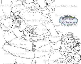INSTANT DOWNLOAD Digital Digi Stamps Big Eye Big Head Dolls Digi  Coffee Claus  By Sherri Baldy