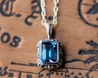 London blue topaz necklace, bezel set necklace, emerald cut necklace, vintage style necklace, floral necklace for women, ready to ship