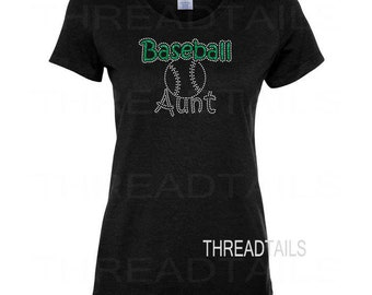Baseball Aunt t-shirt.  Glitter Rhinestone ball top for aunts, sporting events, team support.  Ladies clothing, tee, gift ideas.
