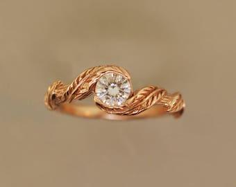 Leaf Engagement Ring Etsy