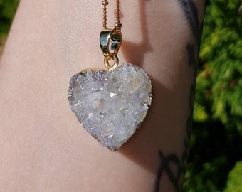Enchanting heart druzy pendant