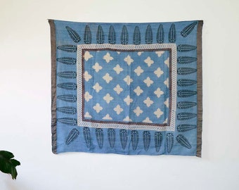 SAMPLE SALE block print Scarf, Scarves, Indigo, Blue, Square Scarf, Hand Printed, natural dyed, gift for her, Cotton, Square scarf - Ustari