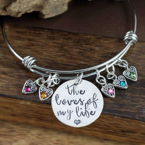 Perseonalized Grandma Birthstone Bracelet, Engraved Bracelet, Mother's Birthstone Bangle Bracelet , Mother's Day Gift, Gift for Grandma Nana
