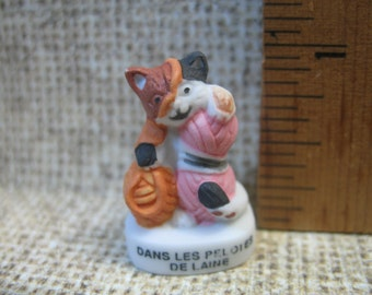 Kitten with Yarn  Cat Kitty - French Feve Feves Figurines Miniature