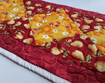 Handmade table runner, apple decor, fruit runner, strawberry table runner
