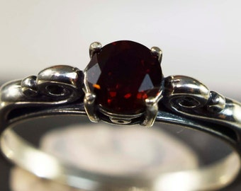Garnet Ring, Genuine Gemstone 5mm Round .69ct Set in Scrolled  Deco Style 925 Sterling Silver Ring
