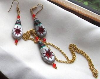 Demi Parure Earring and Pendant Set of Painted Porcelain and Swarovski Crystals