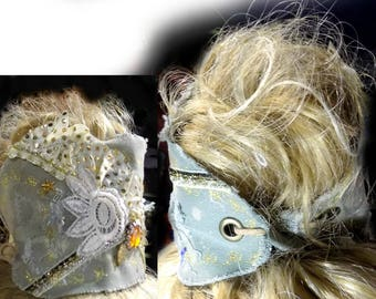 hair accessories , fabric headband , ponytail cover , gypsy head piece , adult headband ,  Boho headband - messy headband -   # 139 A
