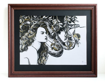 Lilith and the serpent. Original ink drawing.
