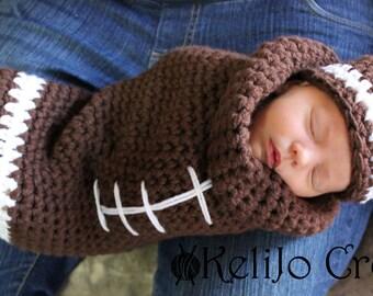Football Cocoon, Crochet Cocoon, Baby Wrap, Baby Swaddle, Football, Newborn Cocoon, Newborn Swaddler, Football Newborn Hat, 0-3 months