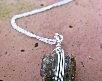SALE!! Handmade Wire Wrapped Raw Brown Tourmaline Pendant Strung on a Sterling Silver Chain