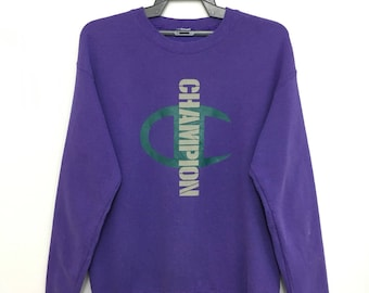 Vintage 90's CHAMPION Sweatshirt Big Logo Spellout Medium Size Purple Color