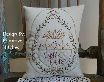 Eggy Easter-Primitive Stitchery  E-PATTERN by Primitive Stitches-Instant Download