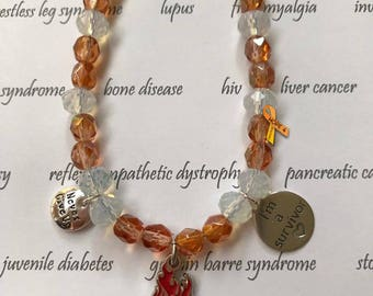 Orange Awareness Bracelet, Opalite and Crystal Fight the Fire 2 Charm Bracelet, I Am A Survivor, Never Give Up, CRPS, RSD