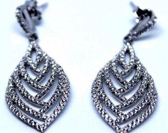 Unique Leaf Dangling Sterling Silver Earrings