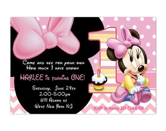 Baby Minnie Mouse First Birthday Party Invitation - Printable or Printed