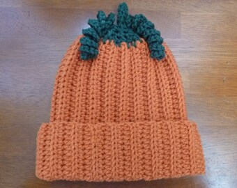 Pumpkin Baby Hat Size 6 to 12 Months - Ready to Ship -