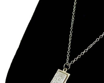 Vintage Sterling Silver Book Locket Pendant Necklace