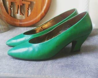 Green Maria Cristina Pumps - Size 7.5