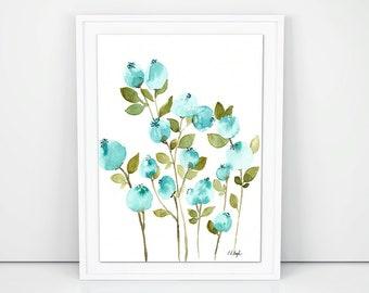 Blue Watercolor Flowers, original watercolor painting, floral art, floral decor, farmhouse style, flowers painting, wall art, fine art, aqua