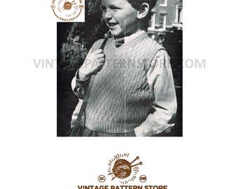 "Boys 1940s, V neck, cabled, sleeveless sweater vest tank top 24"" - 26"" chest - Vintage PDF knitting Pattern 251"