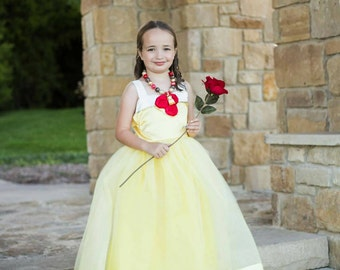 Belle Dress: yellow beauty and the beast tutu dress, red roses, Princess dinner, parks trip, party dress, birthday party, halloween costume