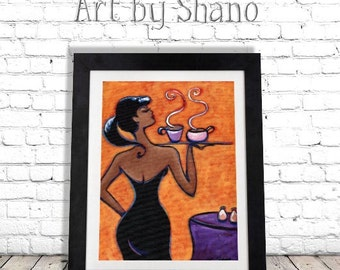 Waitress Art Print, Woman Giclee, Fashion Illustration, Wall Decor, Kitchen Decor, Restaurant Decor, Curvy Women, Colorful Art Print, SHANO