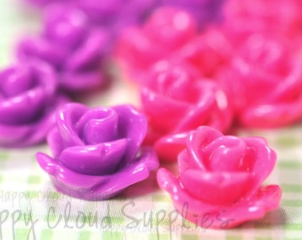20pcs... Mini Resin Rose Cabochons in Hot Pink and Magenta