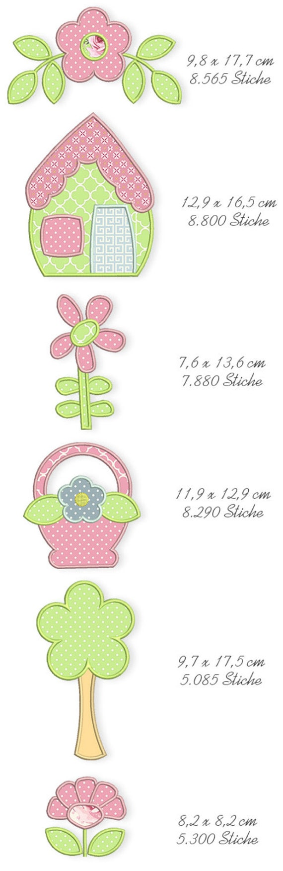 Spring Quilt Applique Machine Embroidery Files