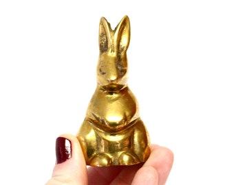 Small Vintage Brass Rabbit Figurine Sitting Upright