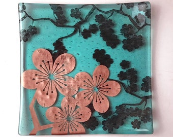 """Sakura fused glass 8"""" platter, Japanese Cherry Blossom Serving platter, Fruit tray"""