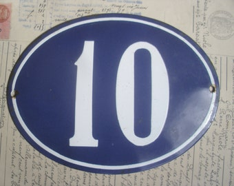 A Traditional & Original Vintage French 1920's House Number '10' Plaque, Exterior / Interior Decoration