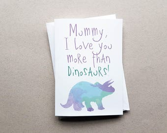 Mummy Dinosaur Card, Dinosaur Mother's Day Card, Cute Card, Mothers Day Card, Greeting Card, Birthday Card, Amazing Mum, Watercolour Card