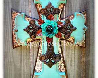 Wall Cross - Wood Cross - Small - Leopard/Cheetah print, Antiqued Turquoise, with Iron Cross and large Turquoise Iron Rose