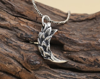 925 sterling silver feather talon pendant, sterling silver talon. antique silver talons , sterling silver Eagle Claw