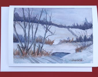 Greeting Card - Holiday Card - Christmas Card - Winter Solstice Card - Winter Watercolor Landscape