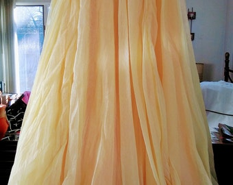 Gorgeous Vintage Chiffon Pale Yellow Skirt
