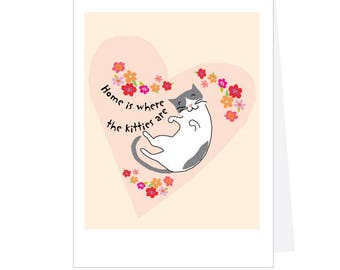 greeting card set home is where the kitties are note card collection