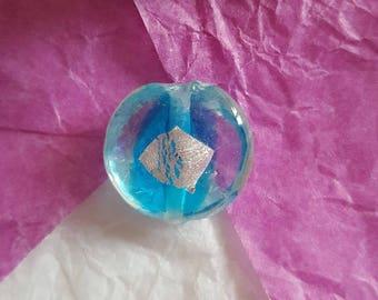 Shape round blue striped Lampwork bead diameter: 16mm. (8155298)